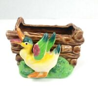Vintage 1950s Ceramic Duck Planter Vase Pen and Stuff Holder Japan Mid Century