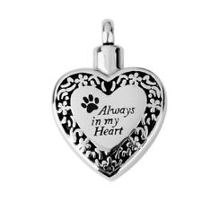 Always in My Heart Pendant Cremation Necklace Urn Keepsake LOVE Jewelery
