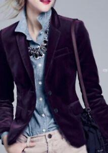 J. CREW Dark Royal Purple SCHOOLBOY BLAZER IN VELVET Surgeon Cuff Jacket M 10