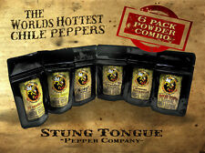 6 PACK SUPERHOT POWDER, GHOST, SCORPION, MORUGA, REAPER, HABANERO, SCOTCH BONNET