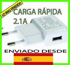 CARGADOR USB RED DE PARED UNIVERSAL CARGA RÁPIDA PARA MOVIL ANDROID BLANCO 5V 2A