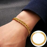 Gold Silver Chain Men's Stainless Steel Link Bracelet Bangle Punk Jewelry Gift