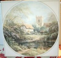 GIBSONS Water's Edge 1000 Piece Round JIGSAW PUZZLE Complete Church H Scoffield