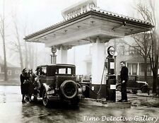 Filling up at Standard Oil Co. Gas Station w / Esso Pump - Vintage Photo Print