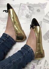 Gold Ballet Pumps Size 5 Flats Metallic Toe Cap Black Dolly Shoes Bows