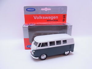 Lot 28494 Welly Volkswagen '63 T1 Bus Green-White Model Car M. Drive 1:40 New