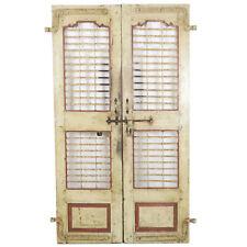 "Pair Antique Vintage India Jaali Painted Rustic Teak & Iron Doors 20"" x 72"" ea"