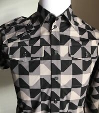 NWT $850 Bottega Veneta Men Dress Shirt Black-Bitumen  US S ( 48 Eu ) Italy