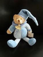 2- DOUDOU HOCHET BABY NAT OURS babynat'  Bleu GRELOT 18 cms   EXCELLENT ETAT