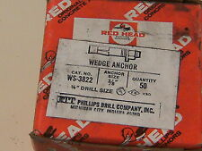 """3/8"""" by 2-1/4"""" Red Head WS-3822 WEDGE ANCHOR (3/8""""x2-1/4"""") includes nut & washer"""