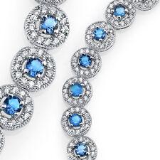 925 Sterling Silver CZ Blue Topaz Cubic Zirconia Milgrain Tennis Bracelet
