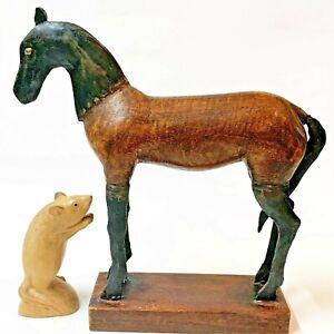 Modern Sculptured Horse Figurine, Welded Metal & Timber 29cm Tall, on Wood Base