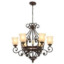 Hampton Bay Freemont  6-Light Hanging Antique Bronze Chandelier with Glass Shade