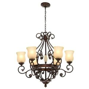 Hampton Bay Freemont  6-Light Hanging Antique Bronze Chandelier with Glass Shade