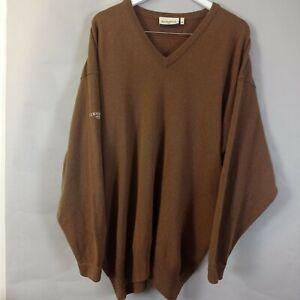 Glenmuir Mens Jumper Size XXL Brown Wool Knit V-Neck Scotland Golf Lambswool