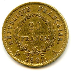 Napoléon Ier (1804-1814) 20 Francs Or Tête laurée 1807 A Paris