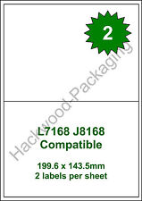 2 Labels per Sheet x 50 Sheets L7168 / J8168 White Matt Copier Inkjet Laser