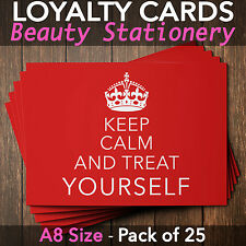 Loyalty Cards - Pack of 25 - massage nail beauty salons spa A8 mini