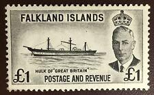 Falkland Islands 1952 £1 Black MLH