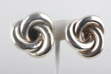 STERLING SILVER WOVEN KNOT DESIGN CLIP ON EARRINGS FINE 925 5887B