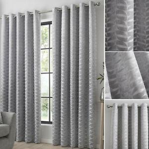 Kendal Silver Luxury Eyelet Curtains. Embossed Velvet Detail