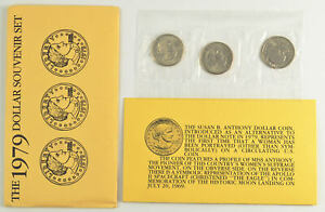 1979 Susan B. Anthony Souvenir Uncirculated Mint 3 Coin Set *102