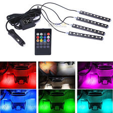 4x 9 LED RGB Car SUV Interior Floor Decorative Strip Lights Music Remote Control