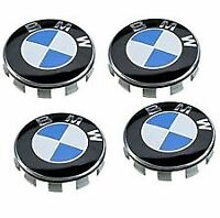SET OF 4 BMW ALLOY WHEEL CENTRE CAPS 68MM 10 PIN CLIPS FITS 1, 3, 5, 7, E90, E34
