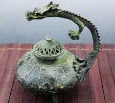 Antique Chinese Bronze Dragon handle Incense Burner Statue Xuande Marks