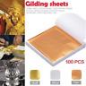 100X Gold/Silver/Copper Foil Leaf Paper For Food Cake DIY Supplies Gilding Decor