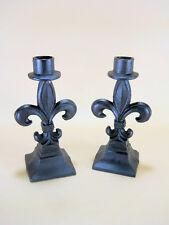 2 Blk Fleur De Lys Lis Cast Iron Candle Holders French Goth candle sticks decor