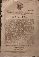 1797 MODENA REPUBBLICA CISALPINA AVVISO: PIROTECNIA GIOCO CON POLVERE DI FUCILE