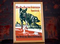 Propaganda Vintage WW1 German Fight Against Bolshevism War Poster Russian Wolf