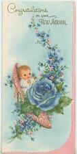 VINTAGE NEW BABY INFANT PINK HIGH HEEL SHOE BLUE ROSE GARDEN FLOWERS CARD PRINT