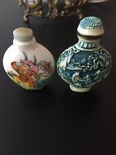 Decorative Vintage Chinese Porcelain & Signed Cinnabar Snuff Bottles