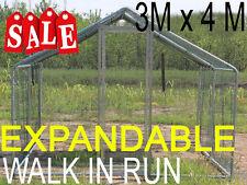CHICKEN RUN 3M X 4M WALK IN COOP FOR POULTRY DOG RABBIT HEN CAGE PEN METAL DOOR
