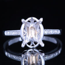 Noble 10x7mm Oval Semi Mount Solid 14k White Gold Pave Diamond Engagement Ring