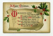 TUCK Christmas Hymns series Antique Vintage 1910 Embossed POSTCARD