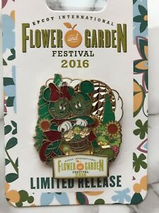 Mickey & Minnie Mouse Epcot Flower & Garden Festival 2016 Pin Limited Release