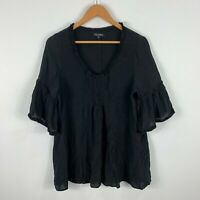 Musee Silk Top Size Small Black Trumpet 3/4 Sleeve V-Neck Made In Australia