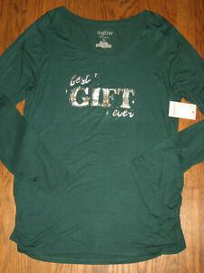 New womens maternity  top XL A:Glow long sleeve Best Gift Ever shirt green soft!