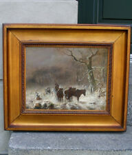 Antique Russian oil. Snow landscape with troika sleigh. Circa 1860. Must see.