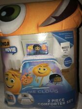 "The Emoji Movie 2 Piece Comforter Set Twin/full Kids Blue New 72"" X 86"" Sham"