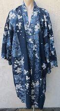 Vintage Japanese blue floral print cotton kimono robe yukata sz XL Made in Japan