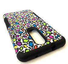 For ZTE ZMAX PRO Z981 - Hybrid Armor Impact Case Cover Rainbow Leopard Cheetah