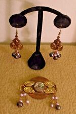 Vintage Kate Hines Brooch and Pierced Earrings Set with Pearl Dangles - 1980s