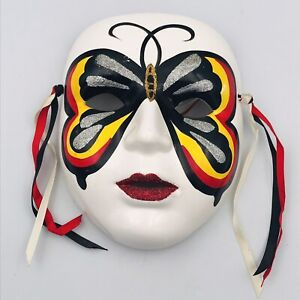 """Mardi Gras Style Ceramic Mask Black Red Yellow Butterfly Face 7"""" x 5 3/4"""""""