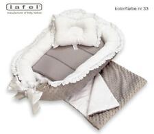 Luxsus Babynest,Baby nest,Schlafnest für Babys, Minky Lafel verziert mit Guipira