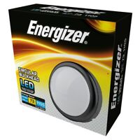 Energizer IP54 LED Indoor Outdoor Round Bulkhead 15W 4000K - Black - Cool White