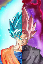 Dragon Ball Super Poster Goku Black Blue Half Bodies 12in x 18in Free Shipping